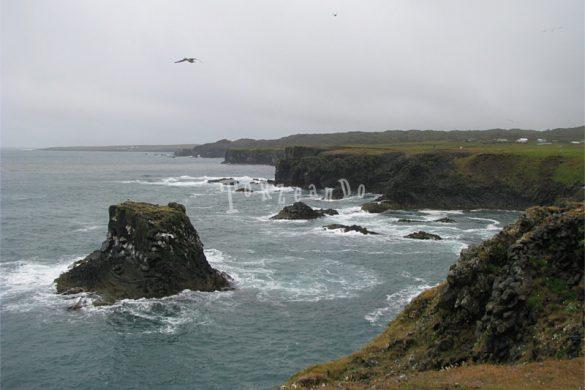 Scogliera e mare mosso in Islanda