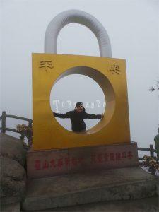 Monumento a forma di lucchetto sul Monte Jiuhua in Cina