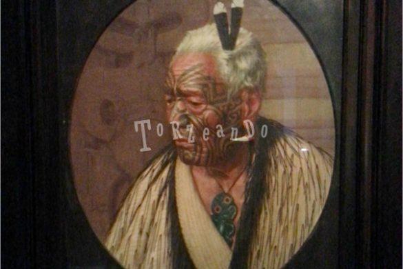 Ritratto di un capo Maori all'Auckland Museum