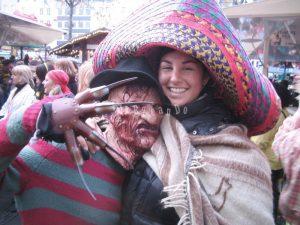 Freddy Krueger e Sara de Colle al carnevale di Colonia, Germania