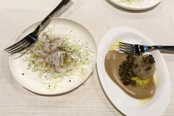 Tagliatelle con seppia e gnocco al tartufo