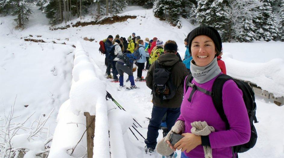 Sara de Colle in escursione con le ciaspole