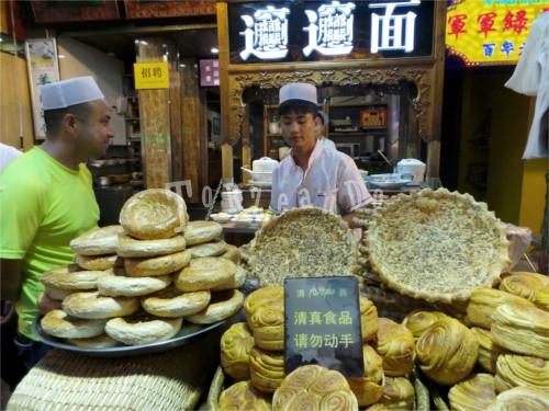Bancarella di cibo da strada al mercato musulmano di Xi'An