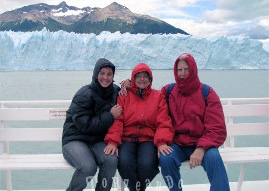 Sara de Colle con mamma e papà sul Perito Moreno
