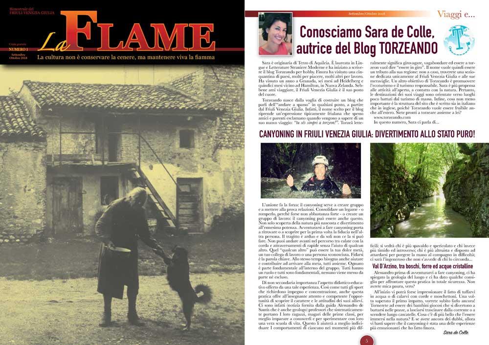 La Flame articolo sul Canyoning in Friuli Venezia Giulia