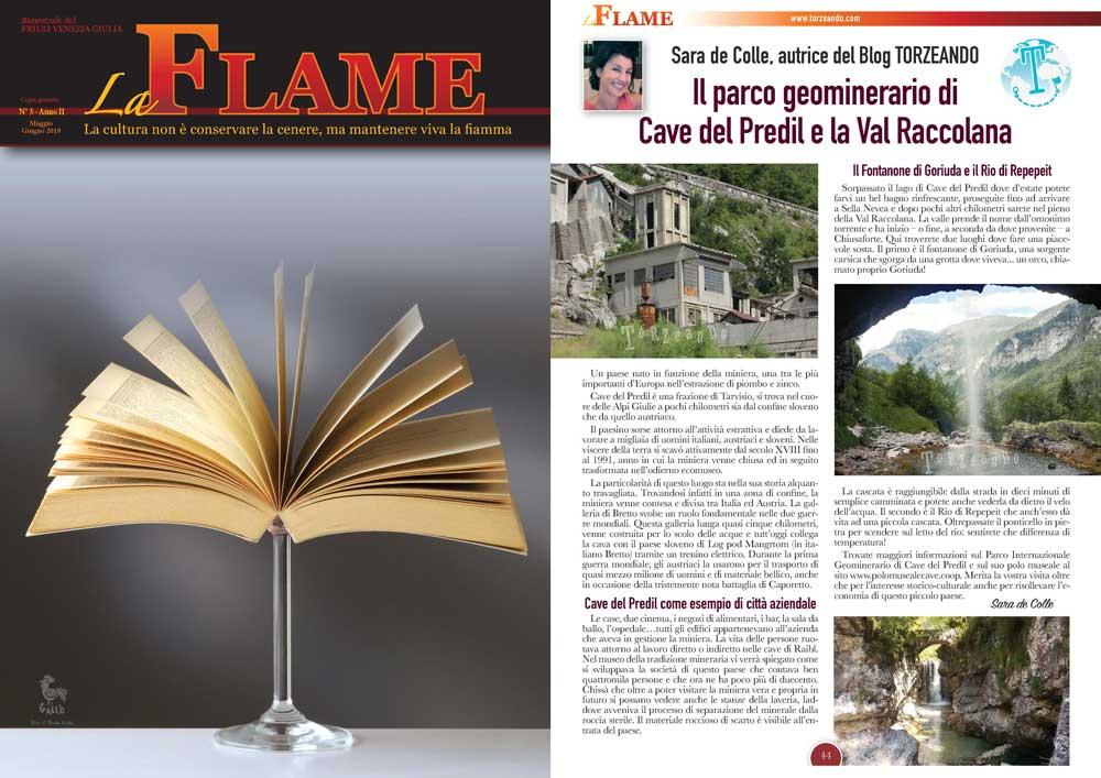 La Flame articolo sulle Cave del Predil