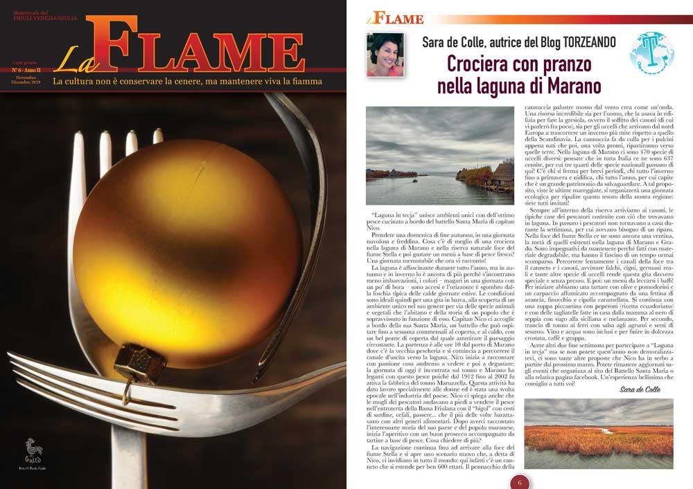 La Flame articolo sulla Crociera nella laguna Marano