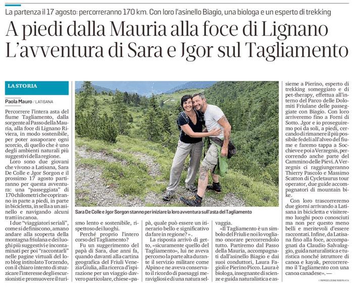 Articolo Messaggero Veneto 02.08.20