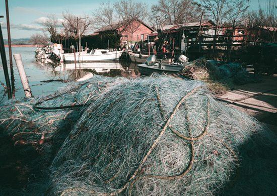 Reti da pesca a Punta Sdobba
